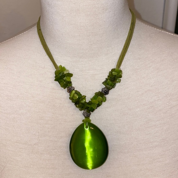 Green Glass & Stone Necklace